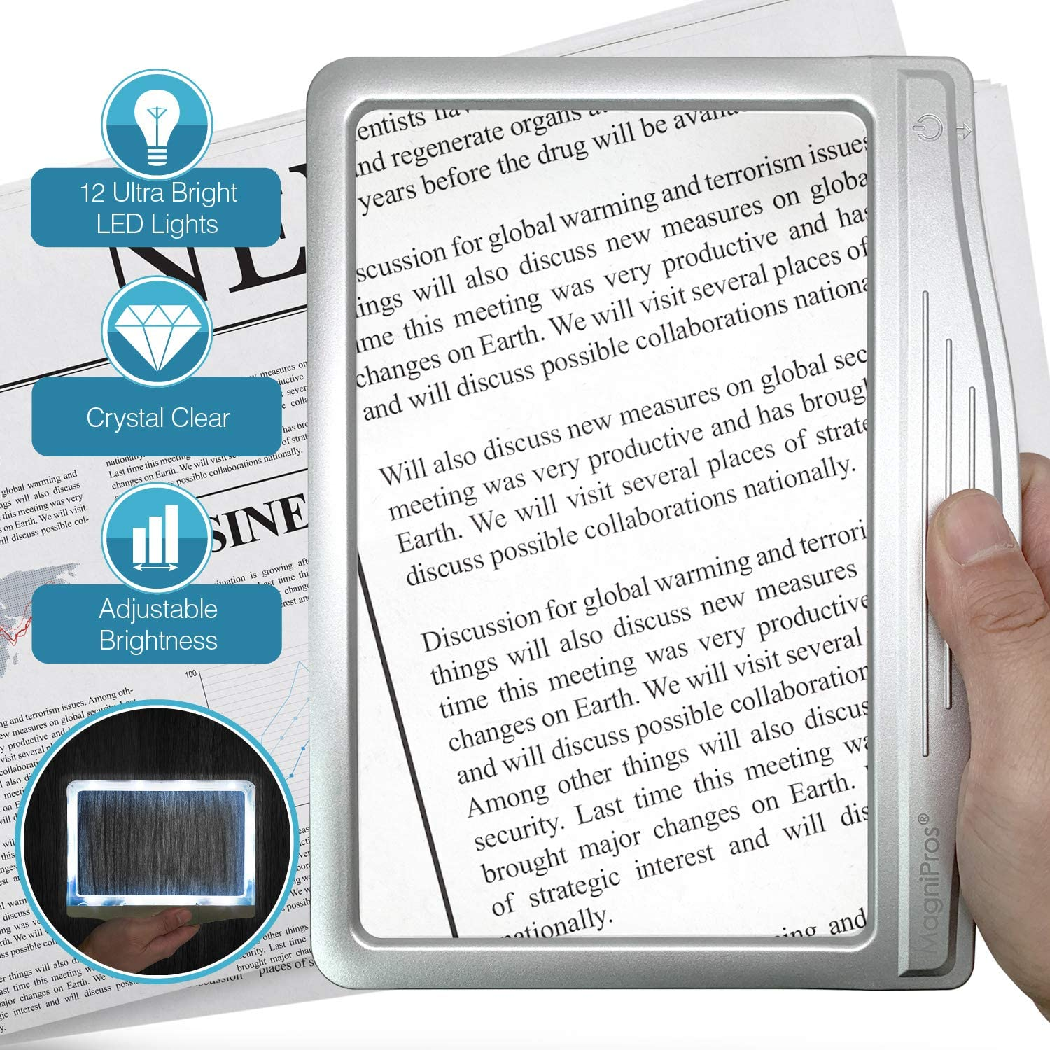 3X Large Ultra Bright LED Page Magnifier