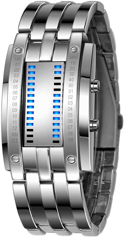 Geeky Mens Binary Square Blue LED Digital Waterproof Watch