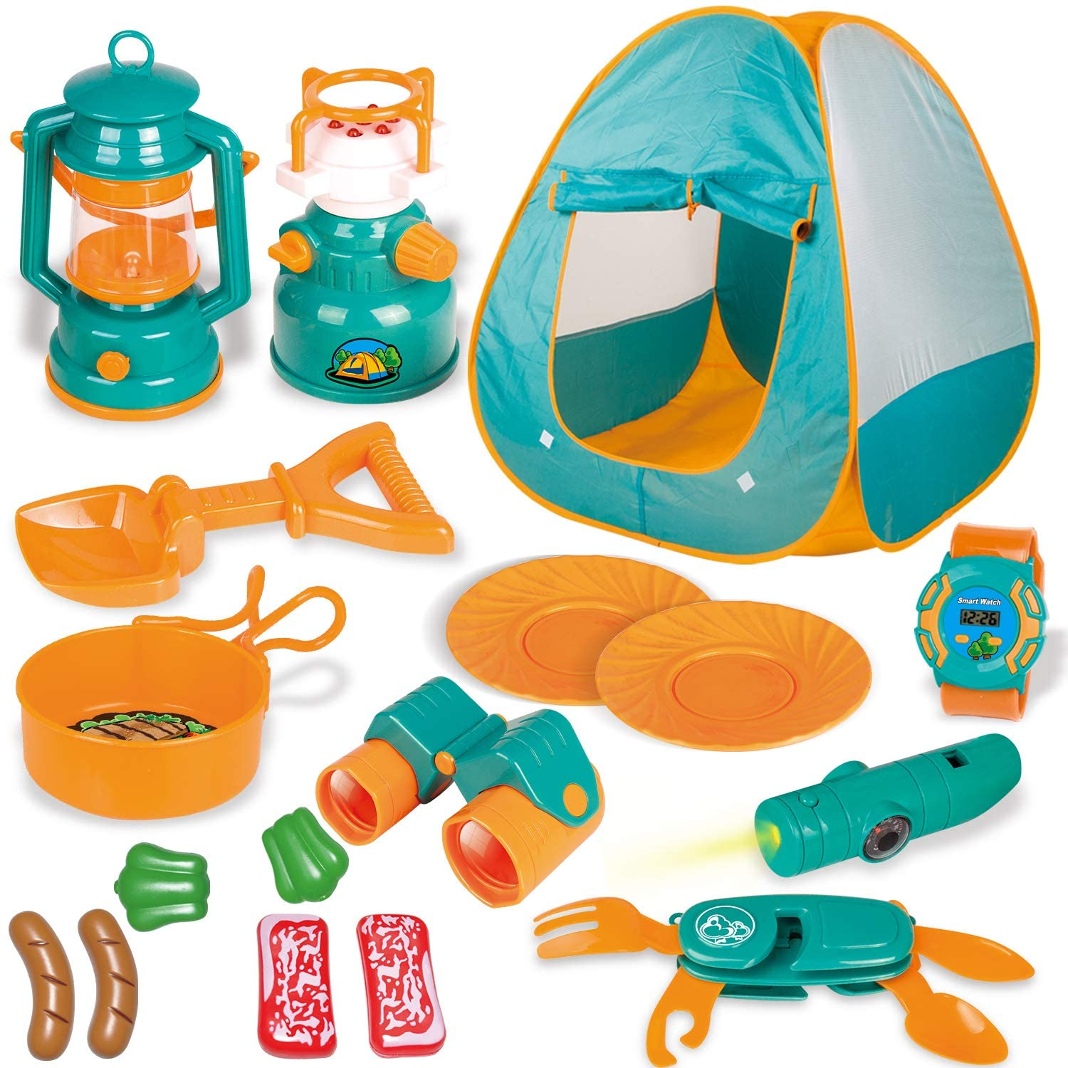 This Fun Kids Pop Up Play Tent with Camping Gear