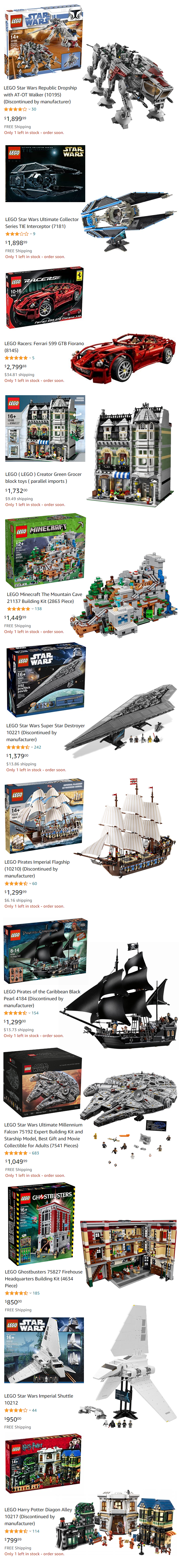 THE MOST EXPENSIVE LEGO BUILDING SETS EVER