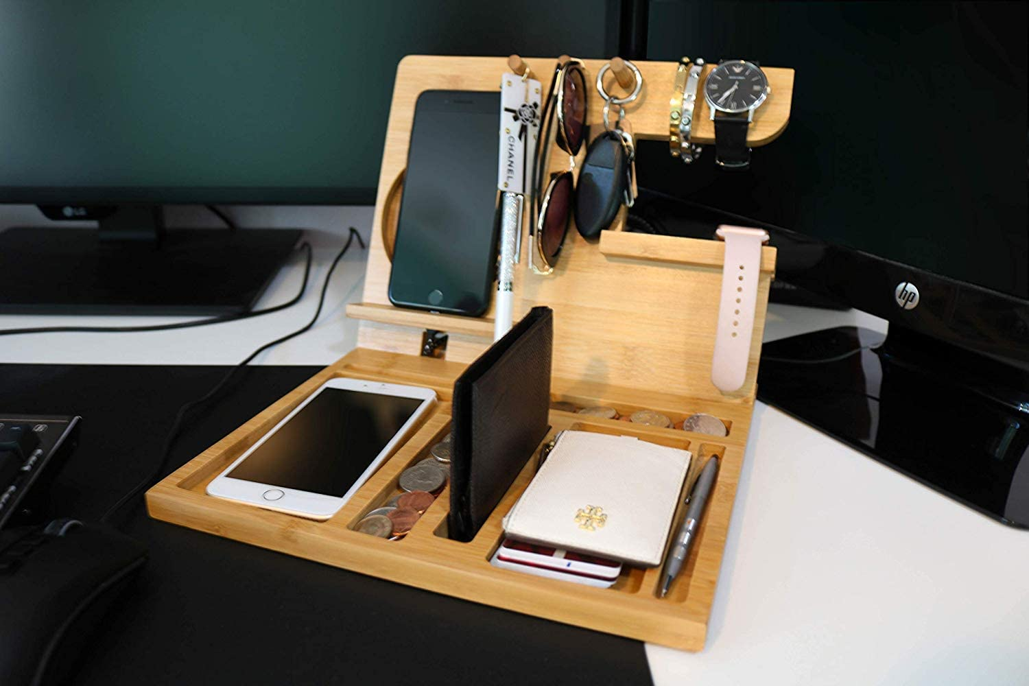 Ultimate Wood Phone Docking Station for Organizing Keys Wallets and Watches